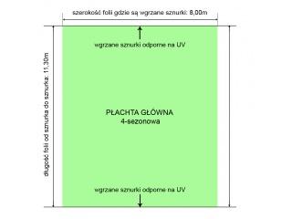 Płachta główna foliowa 4-sezonowa o rozmiarze na gotowo 8,00m x 11,30m na tunel długości 11,00m